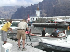 Filming in theThe Marina Los Gigantes Tenerife